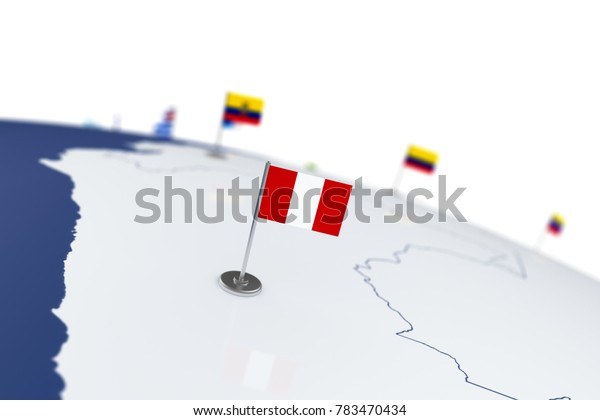 Peru flag. Country flag with chrome flagpole on the world map with neighbors countries borders. 3d illustration rendering flag