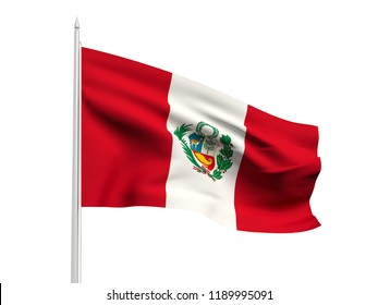 Peru flag floating in the wind with a White sky background. 3D illustration.