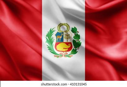 Peru flag of silk