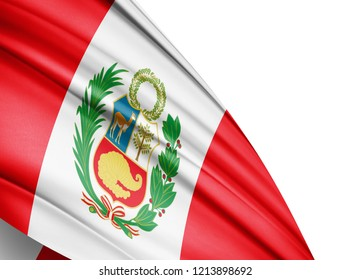 Peru  flag of silk with copyspace for your text or images and white, background-3D illustration