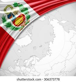 Peru flag of silk with copyspace for your text or images and world map background