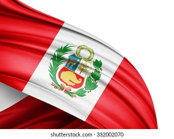 Peru  flag of silk with copyspace for your text or images and white background