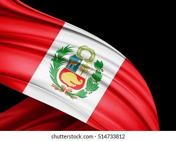 Peru  flag of silk with copyspace for your text or images and black  background -3D illustration