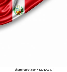 Peru flag of silk with copyspace for your text or images and white background -3D illustration