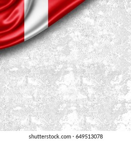 Peru flag of silk with copyspace for your text or images and wall background -3D illustration