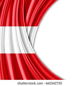 Peru  flag of silk with copyspace for your text or images and white background-3D illustration