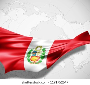 Peru flag of silk and world map background -3D illustration