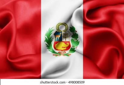 Peru flag of silk-3D illustration