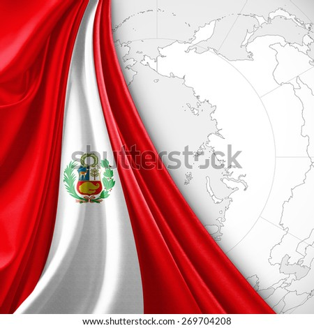 Peru Flag World Map Background Stock Illustration 269704208 ...