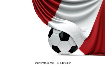 Peru national flag draped over a soccer football ball. 3D Rendering