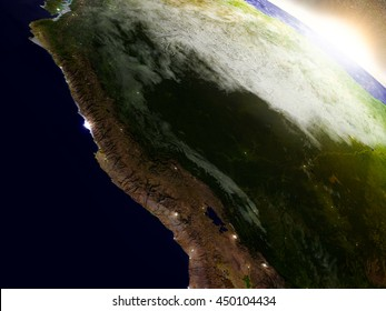 Peru region from Earth's orbit in space during sunrise. 3D illustration with highly detailed realistic planet surface. Elements of this image furnished by NASA.