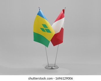 Peru - Saint Vincent and The Grenadines Cooperation Flags, White Background - 3D Render