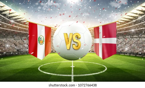 Peru vs. Denmark. Soccer concept. White soccer ball with the flag in the stadium, 2018. 3d render