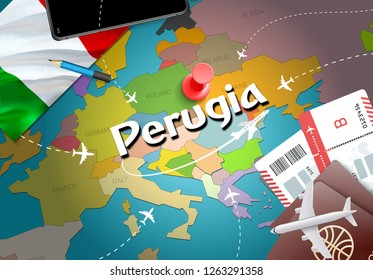 Perugia city travel and tourism destination concept. Italy flag and Perugia city on map. Italy travel concept map background. Tickets Planes and flights to Perugia holidays Italian vacation