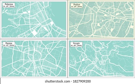 Perugia, Padua, Parma and Palermo Italy City Maps Set in Retro Style. Outline Maps.