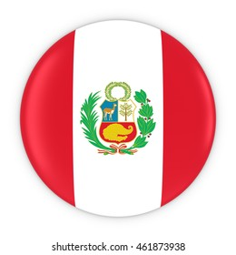 Peruvian Flag Button - Flag of Peru Badge 3D Illustration