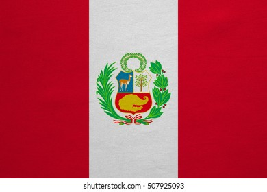 Peruvian national official flag. Patriotic symbol, banner, element, background. Correct colors. Flag of Peru with real detailed fabric texture, accurate size, illustration