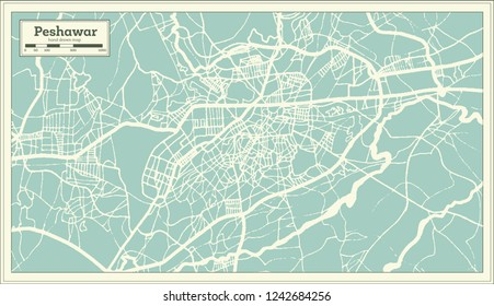 Peshawar Pakistan City Map in Retro Style. Outline Map.