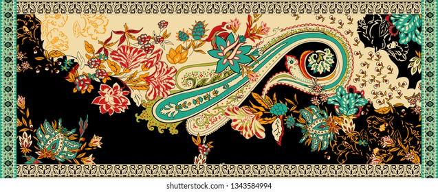 Peshmina Shawl, Digital And Textile Four Side Border Paisley Print Design - Illustration