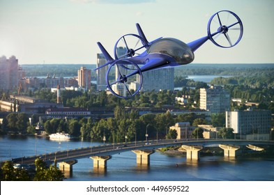 Pesonal Air Vehicle Flying Above The Cityscape, Flying Car Of The Future 3d Concept, Futuristic Vehicle In The City, Air Car Concept - 3D Rendering