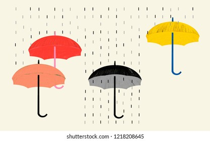 Pessimism attitude and negative vision of situations. Conceptual illustration shows rain and umbrella colored and black and white as a visual metaphor.