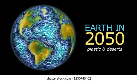 pessimistic illustration showing how earth is going to be in 2050 with oceans filled with plastic trash and many wide desertic areas, nature world earth care warning awareness concept