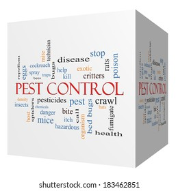 Pest Control 3D cube Word Cloud Concept with great terms such as bugs, poison, rates and more.
