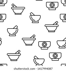 Pestles With Mortars Color Icons Seamless Pattern. Pestles With Bowls Linear Symbols Pack. Herbs And Spices Manual Grinding. Kitchen, Pharmacy Modern And Ancient Implements Illustrations