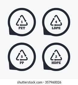 PET 1, Ld-pe 4, PP 5 and Hd-pe 2 icons. High-density Polyethylene terephthalate sign. Recycling symbol. Flat icon pointers.