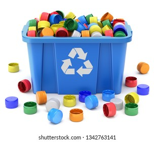 PET bottle caps in blue recycle crate on white background - 3D illustration