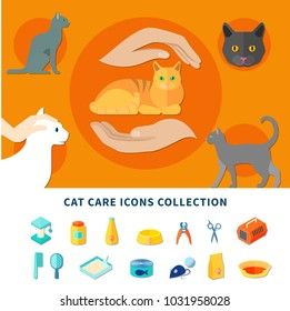 Pet care accessories for cats icons collection flat isolated  illustration