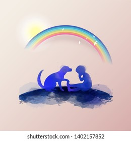 Pet care. A boy crying with dog  silhouette on watercolor background. The concept of trust, friendship . Digital art painting