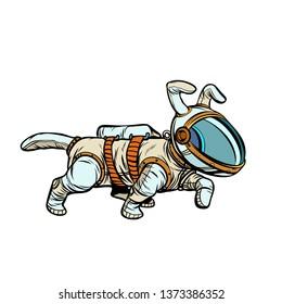 pet dog astronaut. Pop art retro  illustration kitsch vintage drawing