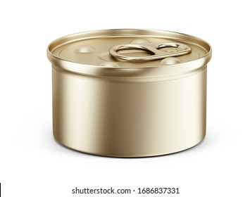 Pet food can on white background - Canned food for dogs, cats. Mockup template for your design. 3d rendering