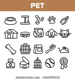Pet Line Icon Set . Animal Care. Grooming Pet Symbol. Dog, Cat Veterinar Shop Icon. Thin Outline Illustration