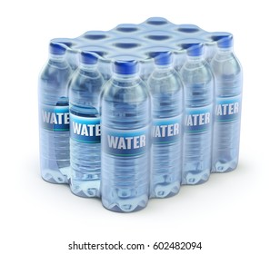 PET packed bottled water in wrapped package - 3D illustration