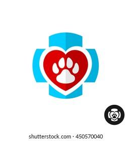 Pet paw love symbol with medical cross. Vet clinic logo. Home pets veterinary symbol.