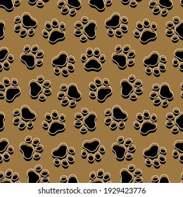 Pet prints. Paw seamless pattern. Gold background for pets, dog or cat. Foot puppy. Shape paw. Footprint pet. Animal track paw. Trace foot dog and cat. Golden design walks pet for print. Illustration