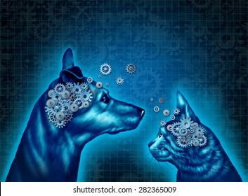 Pet psychology and understanding and communicating with pets as a dog and a cat with gears and cog wheels shaped as an animal brain as a medical metaphor for pet behavior training and therapy.