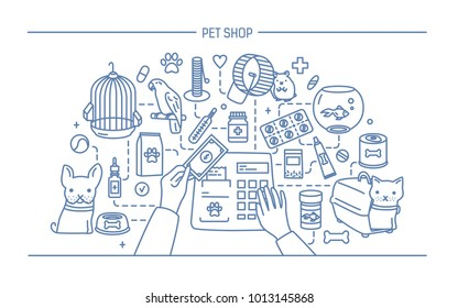 Pet shop contour banner with animals and meds selling. Horizontal contour line art illustration