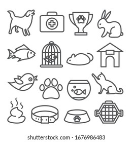 Pet shop line icons set on white background.