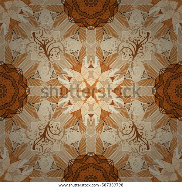 Petal flowers mandala. Brown, beige orange Dim Raster. Radial gradient shadow.