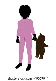 Peter of Peter Pan illustration silhouette on a white background