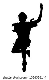 Peter pan Silhouette jumping in the air
