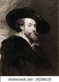 Peter Paul Rubens (1577-1640), Flemish Baroque painter in 1625. 19th century engraving by James Posselwhite.