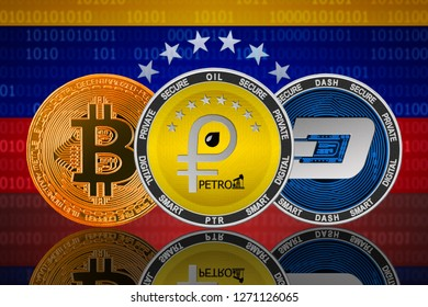 Petro, bitcoin and dash cryptocurrency in Venezuela; petro, bitcoin and dash coins on the background of the flag of Venezuela