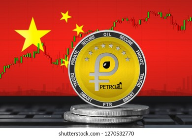 Petro China; petro (PTR) coin on the background of the flag of China