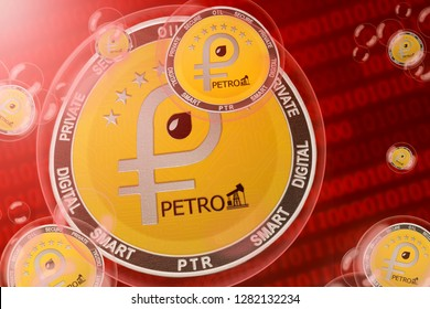 Petro crash; petro (PTR) coins in a bubbles on the binary code background. Close-up. 3d illustration