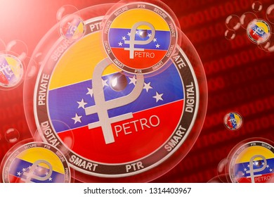 Petro crash; Venezuela Petro (PTR) coins in a bubbles on the binary code background. Close-up. 3d illustration