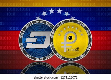 Petro and Dash cryptocurrency in Venezuela; petro and dash coins on the background of the flag of Venezuela